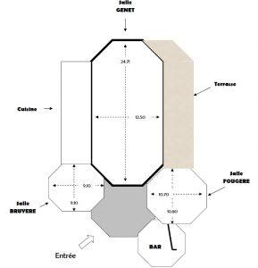 Plan salle polyvalente de 550 m2 avec 3 salles, 1 bar et une cuisine toute équipée
